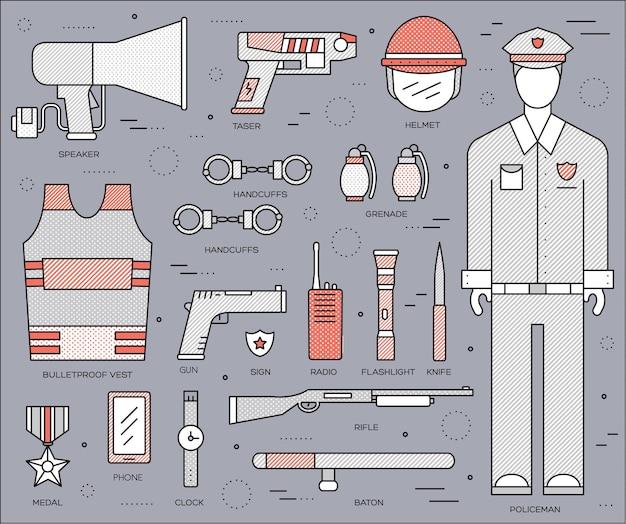 Iconos de delgada línea uniforme de policía militar