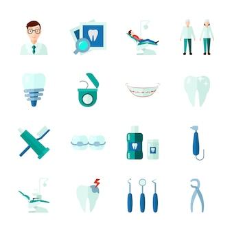 Iconos dentales con dientes instrumentos médicos y plano de clínica aislado