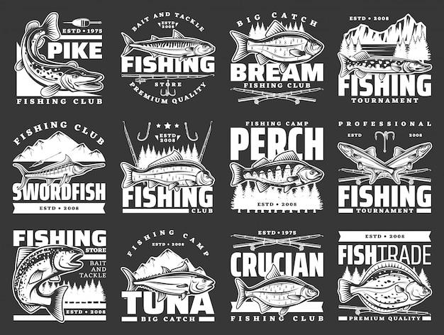 Iconos de deporte de pesca, anzuelos y cañas de señuelo