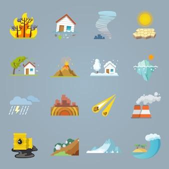 Iconos de desastres naturales plana