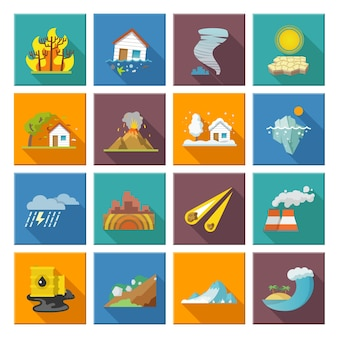 Iconos de desastres naturales