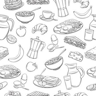 Iconos de desayuno dibujados a mano de patrones sin fisuras