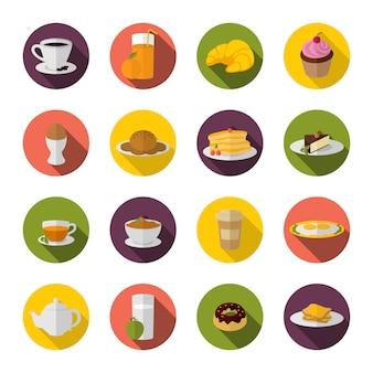 Iconos de desayuno planos