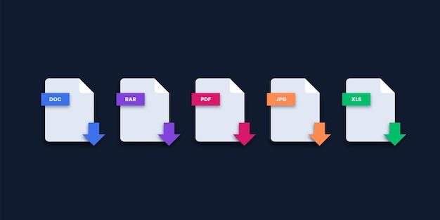 Iconos de descarga de extensión de archivo