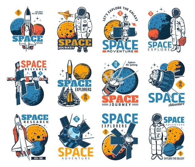 Iconos de descubrimiento de espacio y galaxias con astronautas.