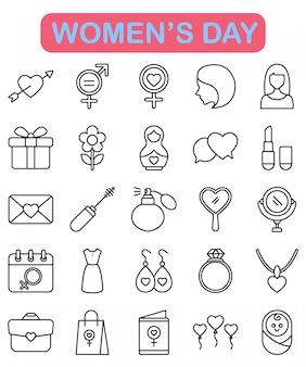 Iconos del día de la mujer en estilo de contorno