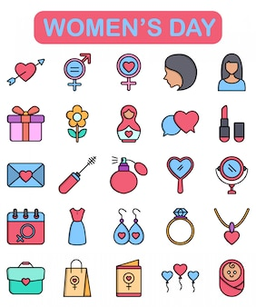 Iconos del día de la mujer en estilo lineal