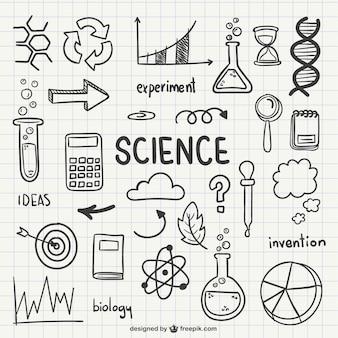Iconos dibujados de ciencia