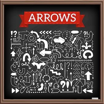 Los iconos dibujados mano de la flecha fijaron con la pregunta y los signos de exclamación con efecto de la pizarra. ilustracion vectorial