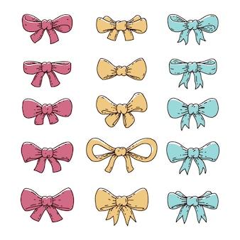 Iconos dibujados a mano de la pajarita de la cinta