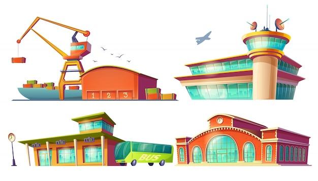 Iconos de dibujos animados de la estación de autobuses, aeropuerto, puerto marítimo