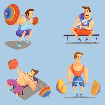 Iconos de dibujos animados de gimnasio con símbolos de levantamiento de pesas sobre fondo azul