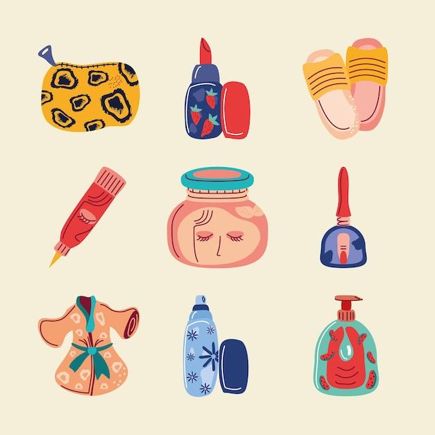 Iconos de dibujos animados de maquillaje cosméticos cuidado de la piel