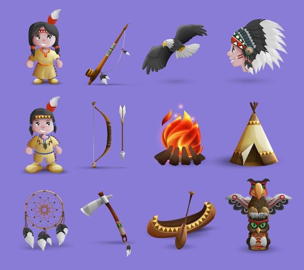 Iconos de dibujos animados de nativos americanos