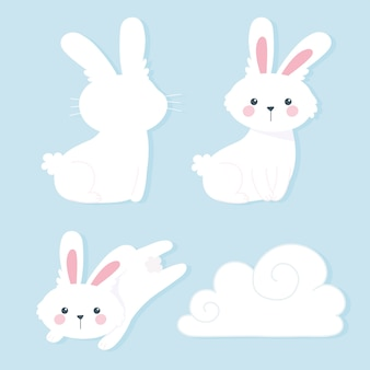Iconos de dibujos animados y nubes de conejos blancos