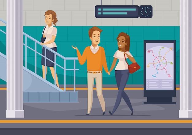 Iconos de dibujos animados de pasajeros subterráneos de metro