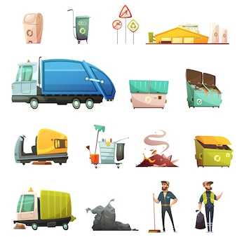 Iconos de dibujos animados del proceso de clasificación y reciclaje de basura con recolección de desechos de jardín