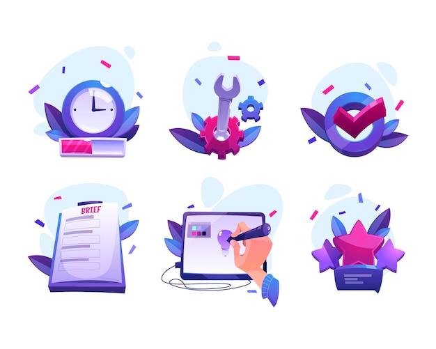 Iconos de dibujos animados del proceso de trabajo del diseñador