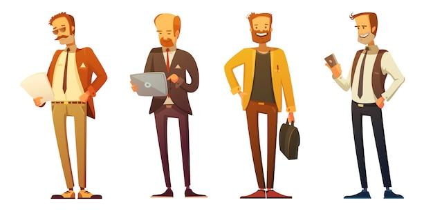 Iconos de dibujos animados retro código de vestimenta de hombre de negocios 4 conjunto con empresarios