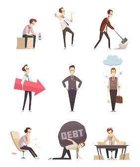 Iconos de dibujos animados retro de fracaso empresarial