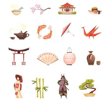 Iconos de dibujos animados retro de japón con santuario sakura geisha samurai origami bonsai y bambú