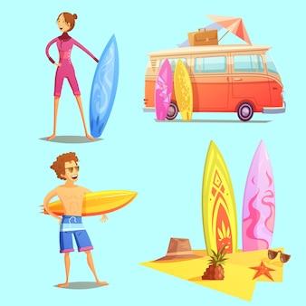Iconos de dibujos animados retro de surf