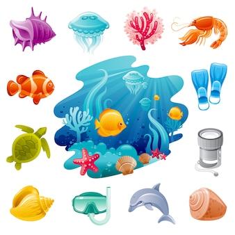 Iconos de dibujos animados de viajes por mar. buceo submarino con medusas, conchas marinas, delfines, tortugas, corales, peces payaso.