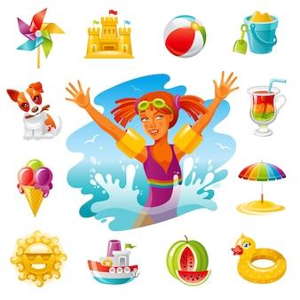 Iconos de dibujos animados de viajes por mar. vacaciones de verano con niña, juguetes, sol, sombrilla, helado, perro, molino de viento.