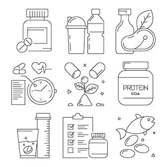 Iconos dietéticos de fitness, actividades deportivas, suplementos alimenticios, vitaminas para la salud, ejercicios de gimnasio, símbolos de línea de entrenamiento bien