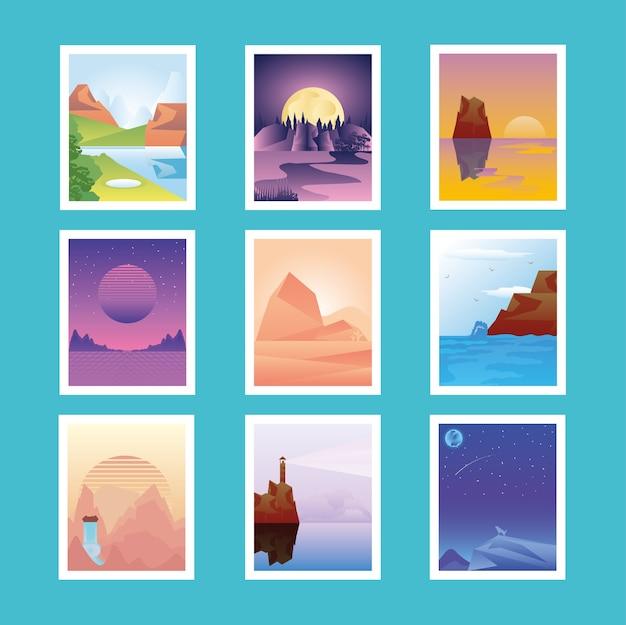 Los iconos de diferentes paisajes establecen imágenes ilustración de escena de naturaleza