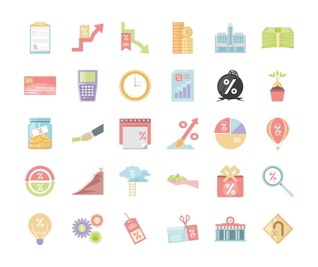 Iconos de dinero de interés