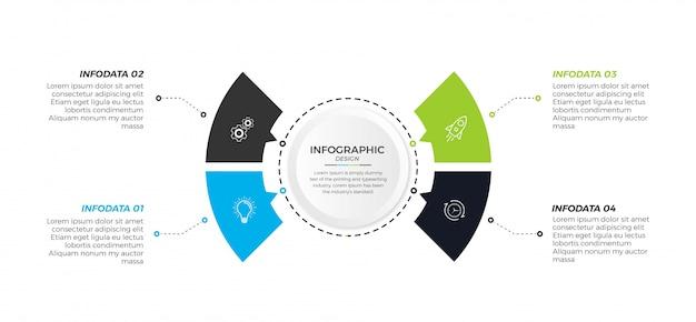 Iconos de diseño de círculo de infografía empresarial 4 opciones o pasos