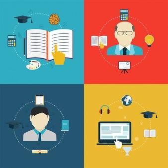 Iconos de diseño plano de educación, aprendizaje en línea e investigación.