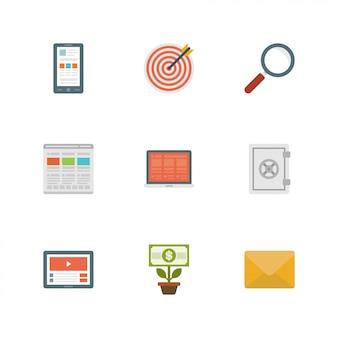 Iconos de diseño plano vector illustration
