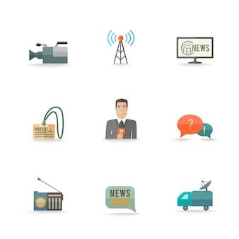 Iconos de diseño de tarjeta de logotipo de cámara de equipo de periodismo en vivo de noticias reales decorativos reales establecidos ilustración plana aislada