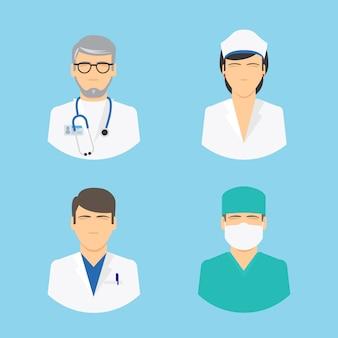Iconos de doctor y enfermera