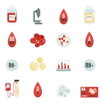 Iconos de donantes de sangre plana