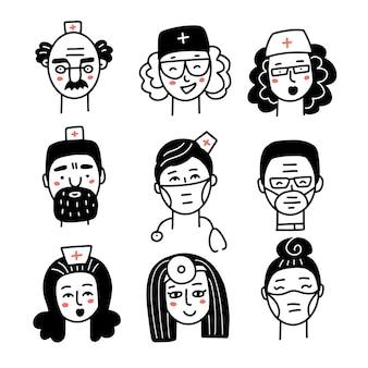 Iconos de doodle de caras de doctor y enfermera establecen personal médico avatares lineales negros sobre fondo blanco vecto ...