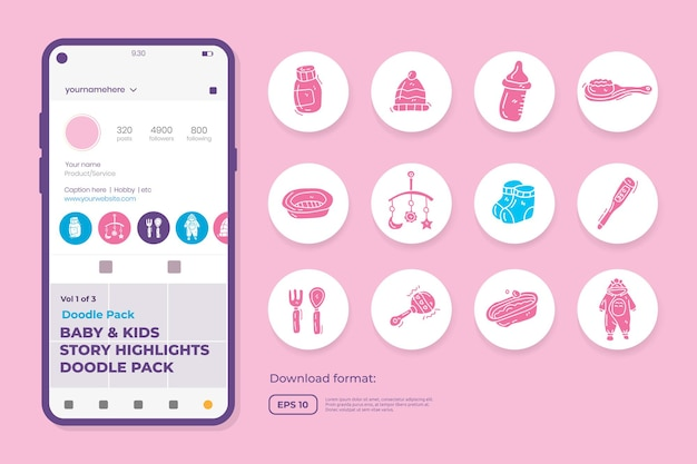 Iconos de doodle de cuidado de bebés y niños para recién nacidos con juguetes, comida, accesorios. conjunto de símbolos de signo para resaltar las redes sociales