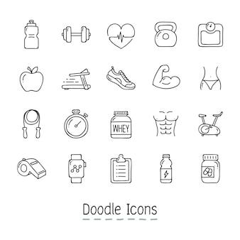 Iconos doodle health y fitness.