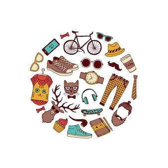 Iconos de doodle hipster en forma de círculo