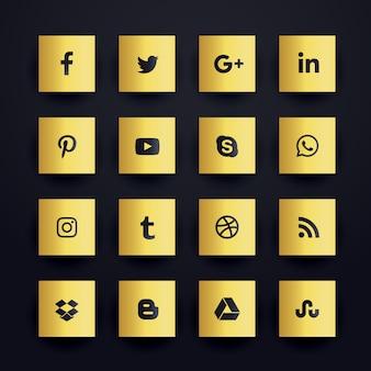 Iconos dorados premium de redes sociales
