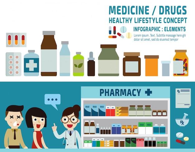 Iconos de drogas píldoras cápsulas y botellas de prescripción.