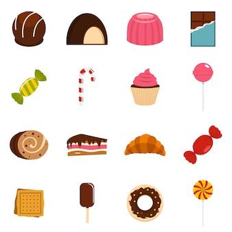 Iconos de dulces y caramelos en estilo plano