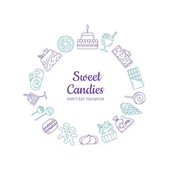 Iconos de dulces de estilo lineal en forma de círculo