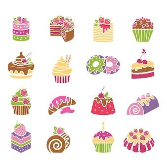 Iconos de dulces y postres en colores primaverales. crema y panadería, tortas y pasteles, ilustración vectorial