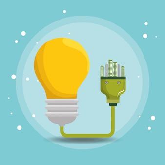 Iconos de ecología de energía de bulbo