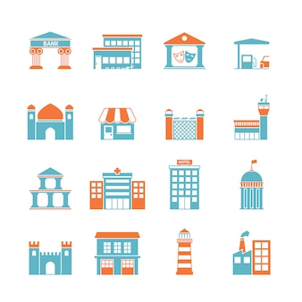 Iconos de edificios gubernamentales