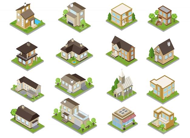 Los iconos de los edificios de los suburbios con casas adosadas y la iglesia isométrica aislado