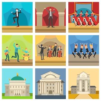 Iconos de edificios de teatro y perfomances de escenario